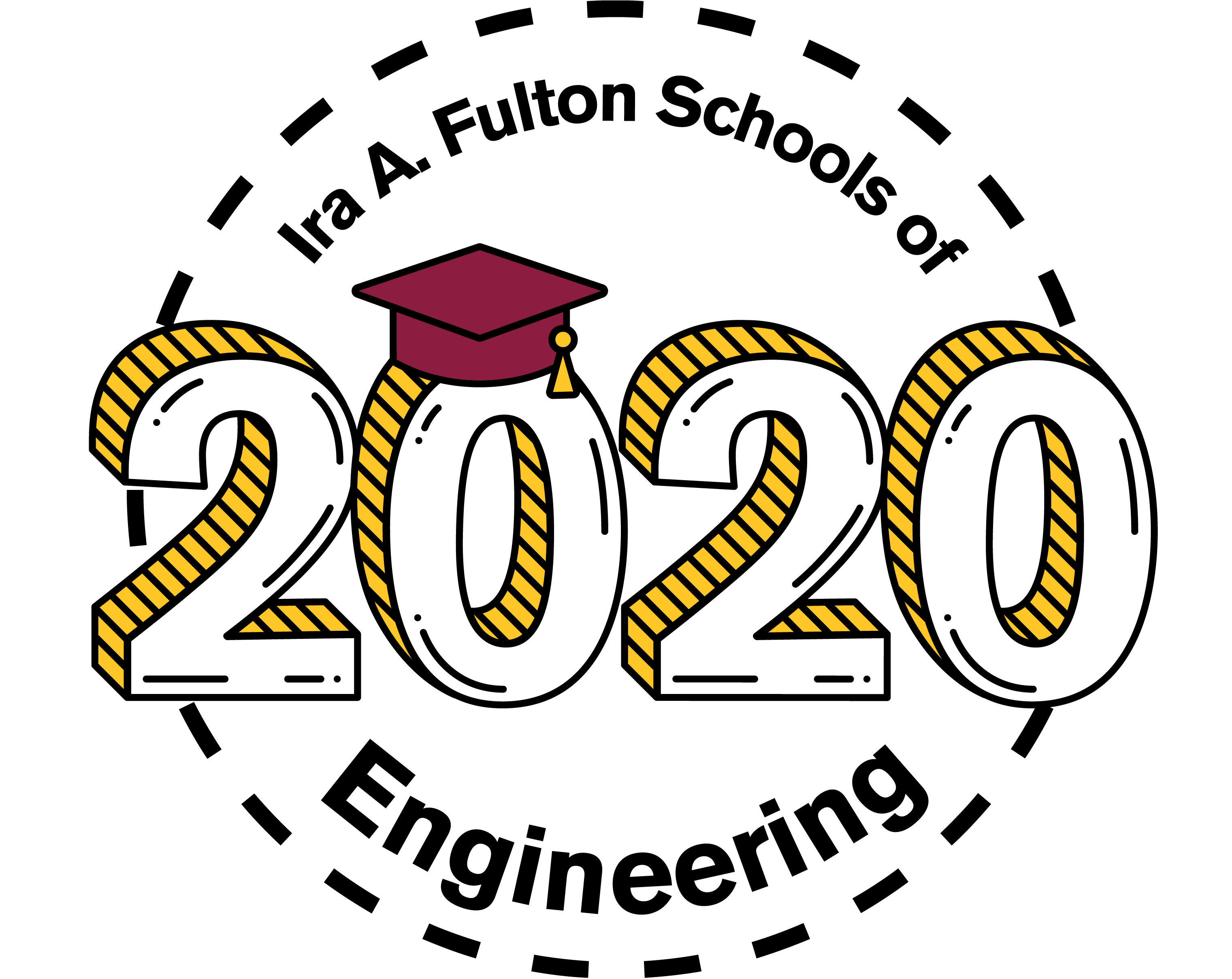 "Transparent PNG Fulton Schools Grad Stamp with ""Ira A. Fulton Schools of Engineering 2020"""