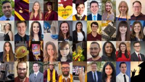 grid view of our Fall 2020 featured grads portraits